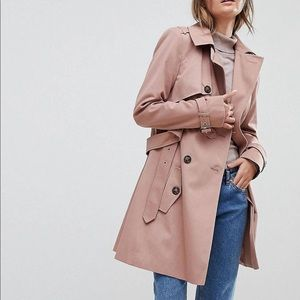 Asos Classic Trench Coat Dusty Pink Size Uk 8/US 4